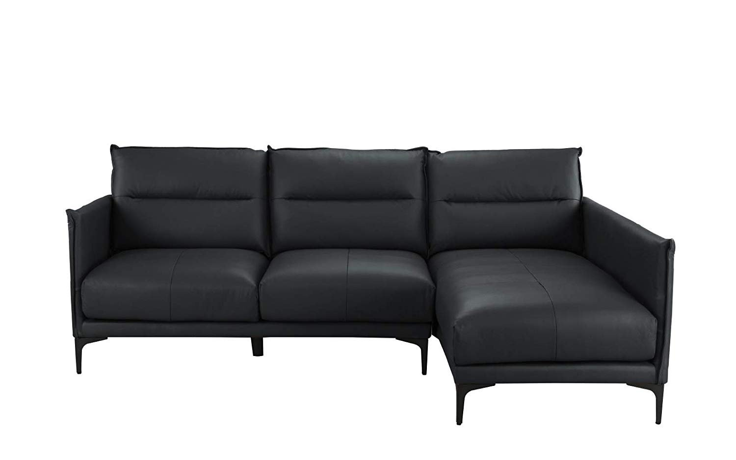 Details about Mid Century Sectional Sofa, L-Shape Couch in Leather Match  Upholstery (Black)