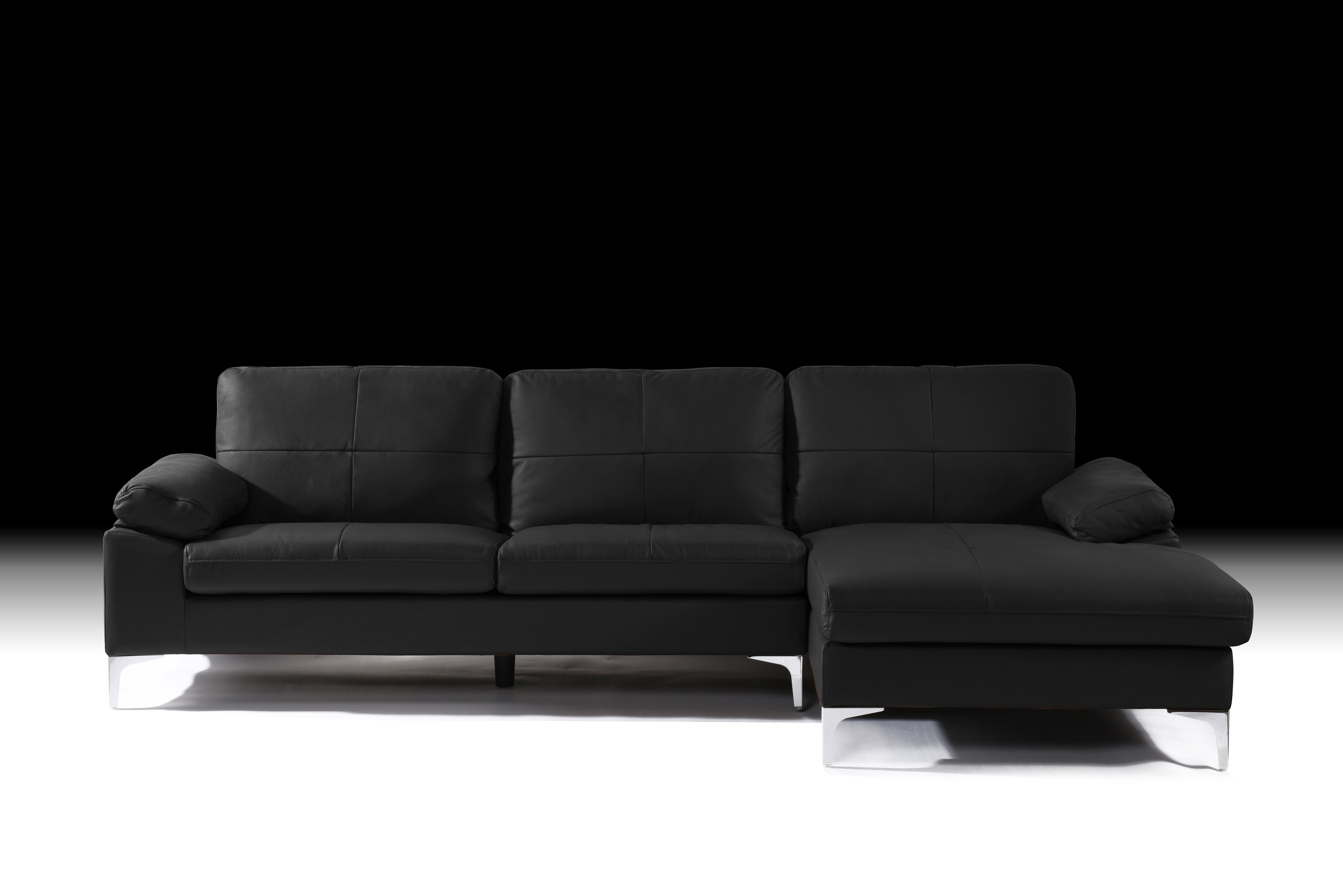 Details about Black Large Leather Sectional Sofa, L-Shape Couch with  Chaise, 108.7\