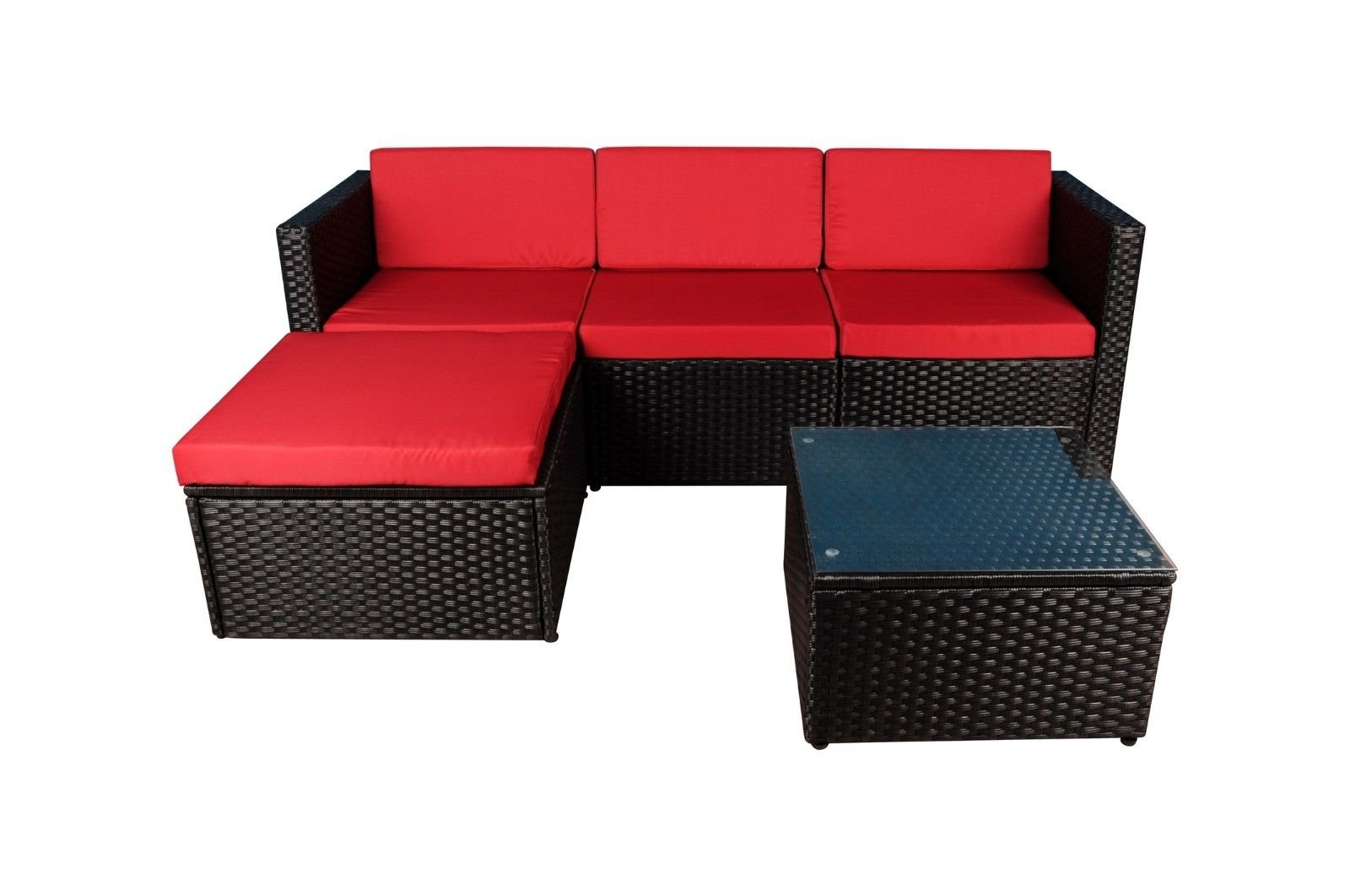 Modern Outdoor Garden Sectional Sofa Set With Coffee Table Wicker Furniture Black Red