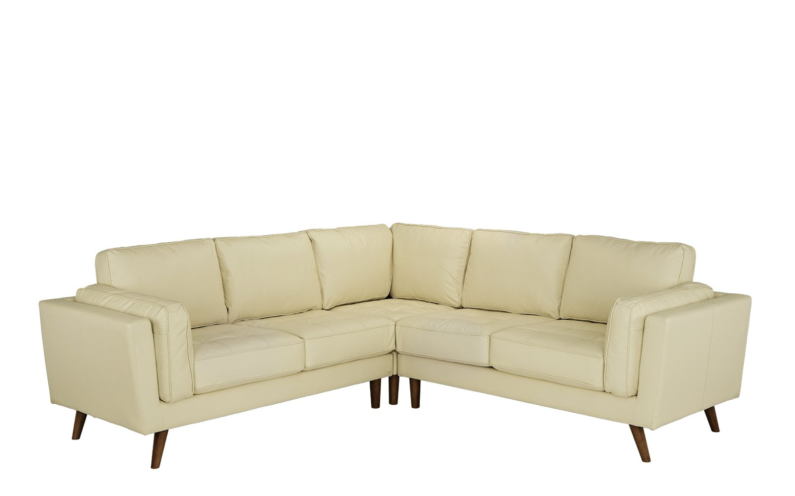 Details About Mid Century Modern Leather Match Sectional Sofa For Living Room Beige