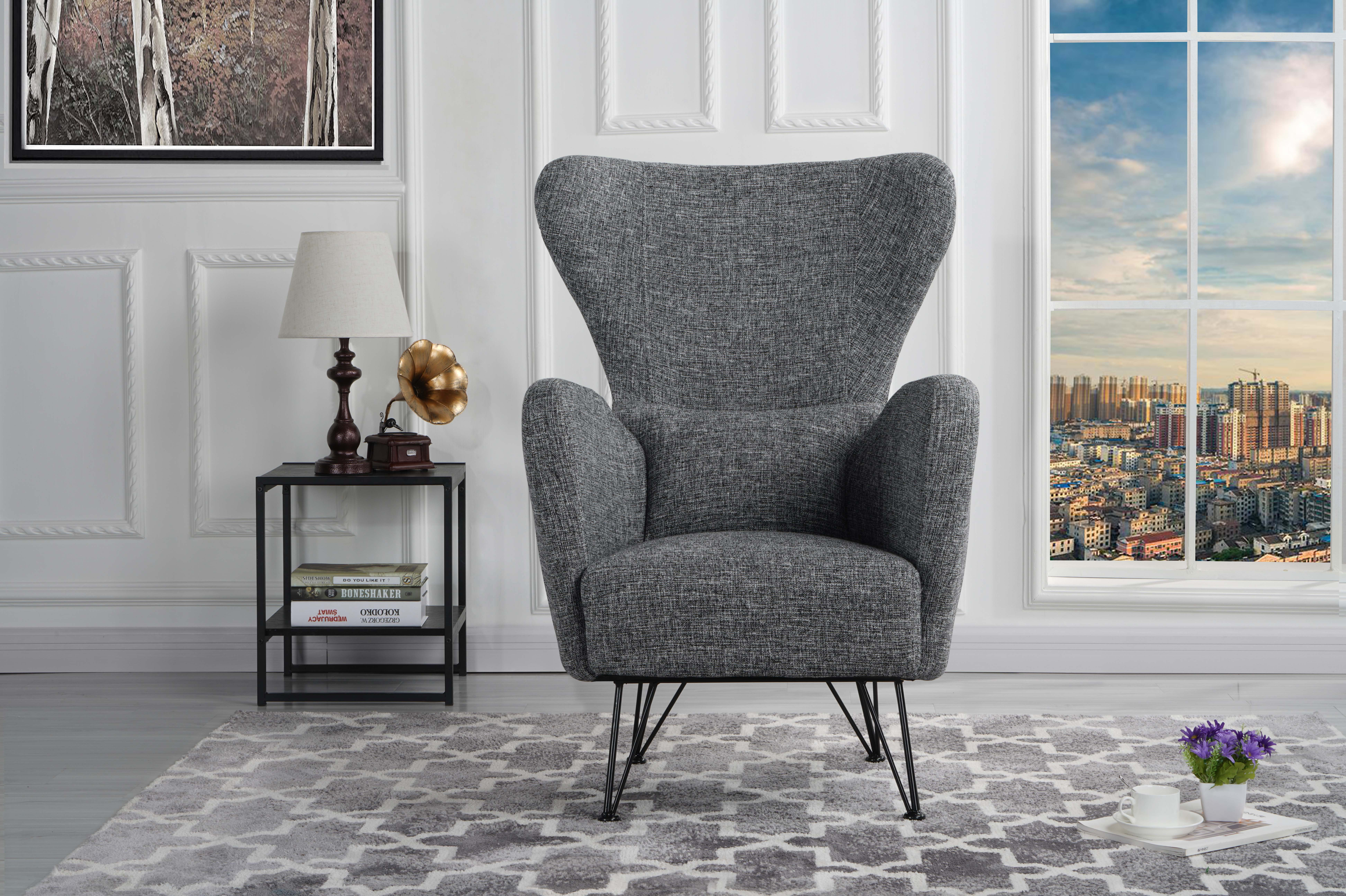 Details About Mid Century Modern Fabric Accent Armchair With Shelter Style  Chair, Light Grey