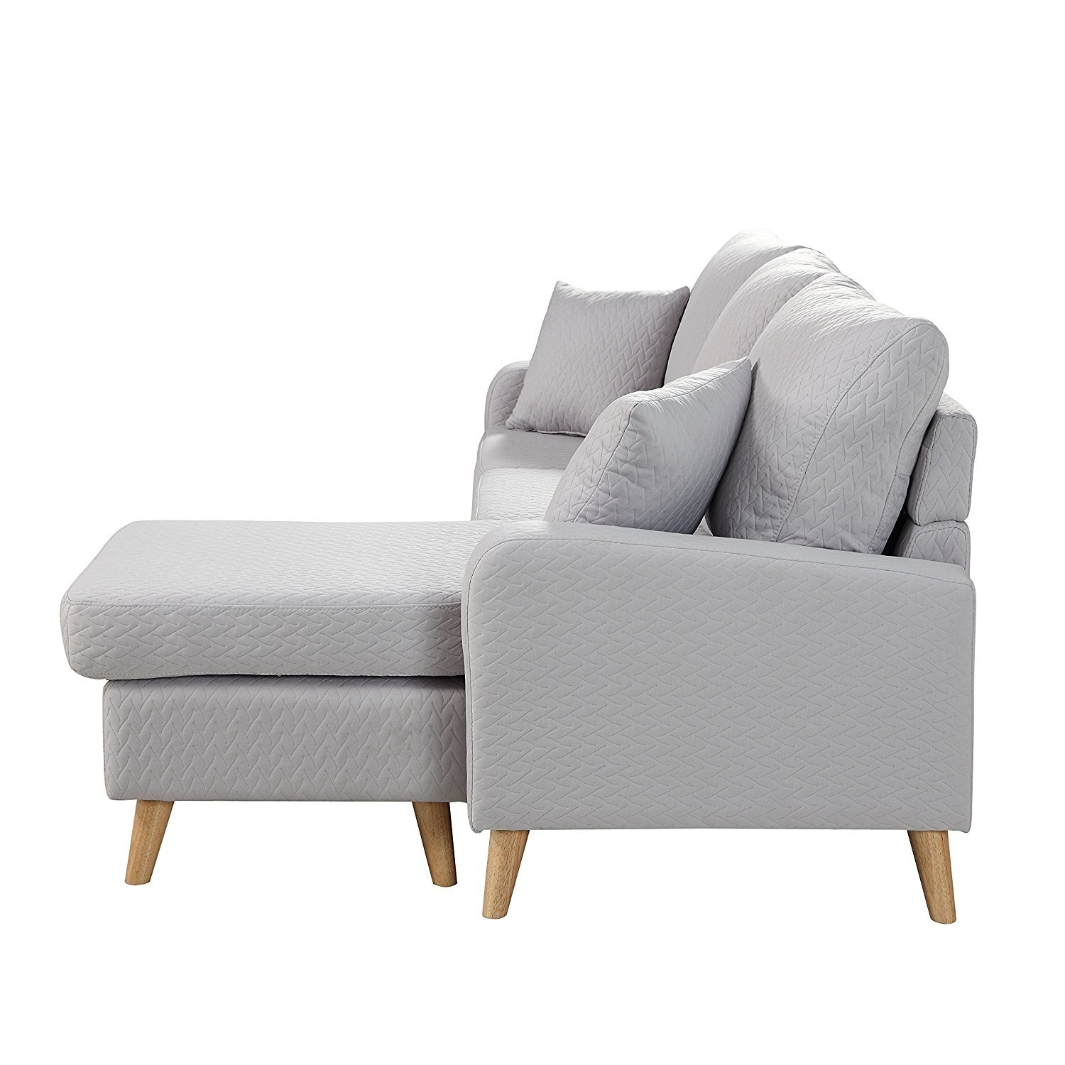 Light Grey Small Space Furniture Sectional Sofa With