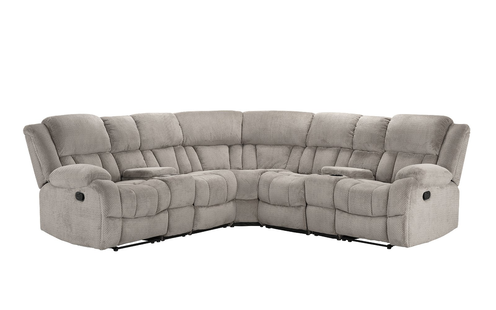 Classic Large Linen Fabric L Shape Sectional Recliner Sofa Couch ...
