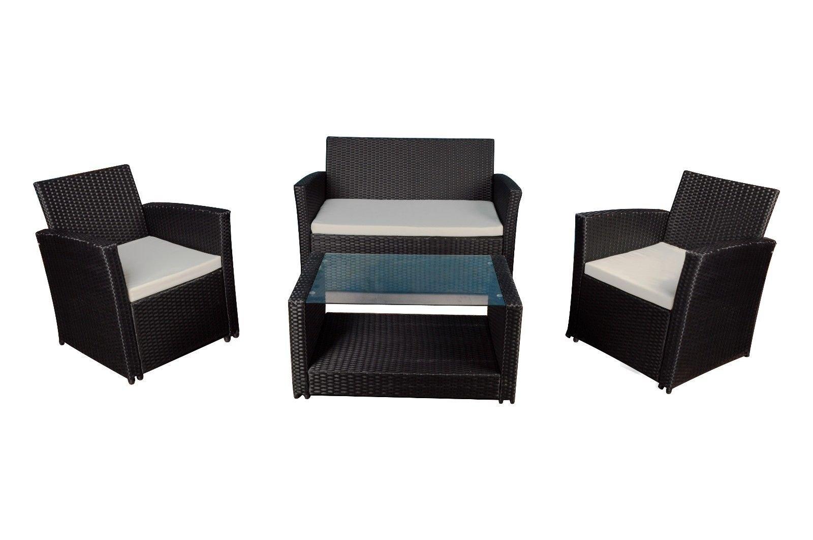 Modern Outdoor Garden Patio 4 Piece Set Wicker Sofa Furniture Black Ivory
