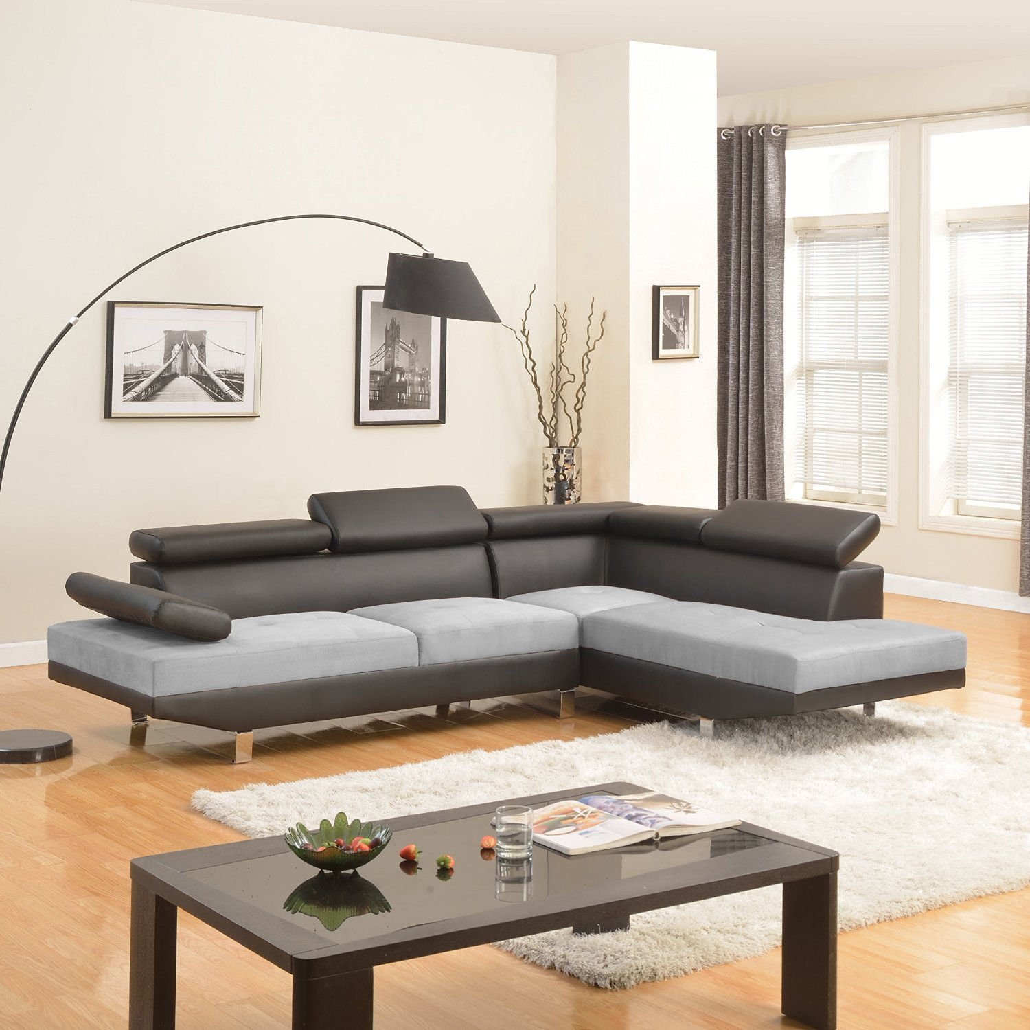 Details about Black/Grey Contemporary 2-Tone Faux Leather Microfiber  Sectional Sofa