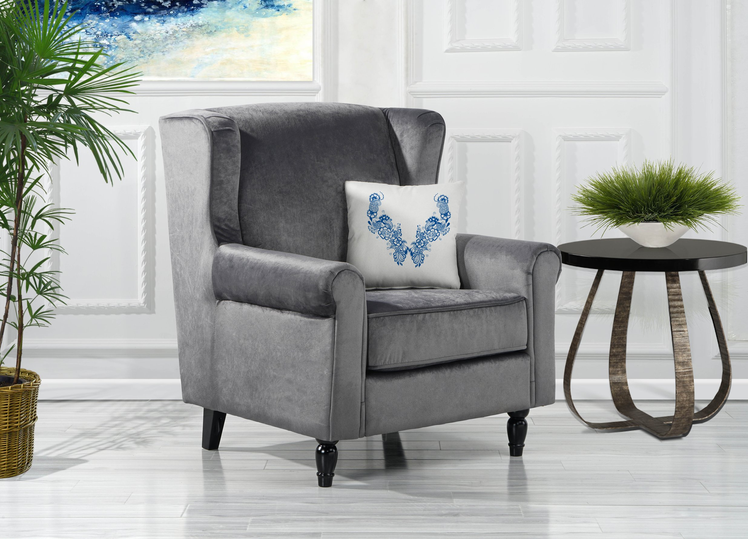 Details about Contemporary Velvet Accent Chair Living Room Armchair with  Wooden Legs Grey