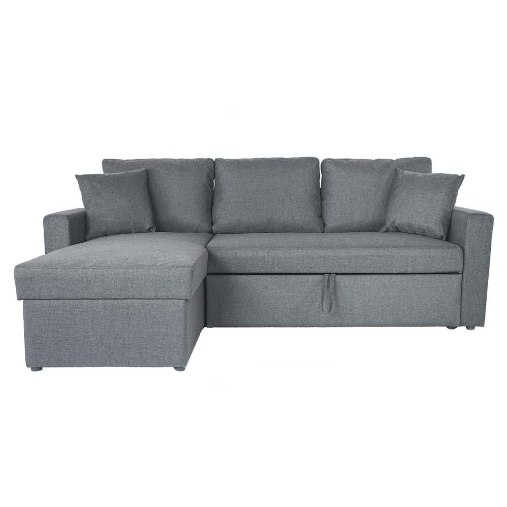 - Modern Small Sectional Sleeper Sofa Pull-Out Ottoman Storage