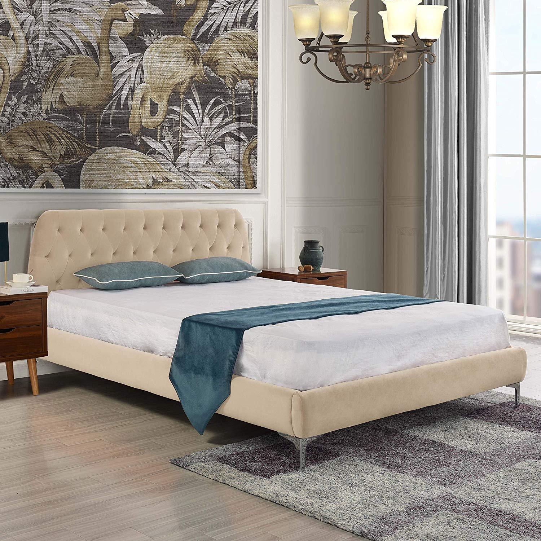 Details About Mid Century Modern Elegant Velvet Bed Frame Low Profile  Headboard (Full, Beige)