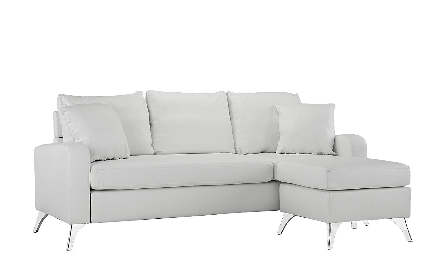 Modern Bonded Leather Sectional Sofa   Small Space Configurable Couch  (White)