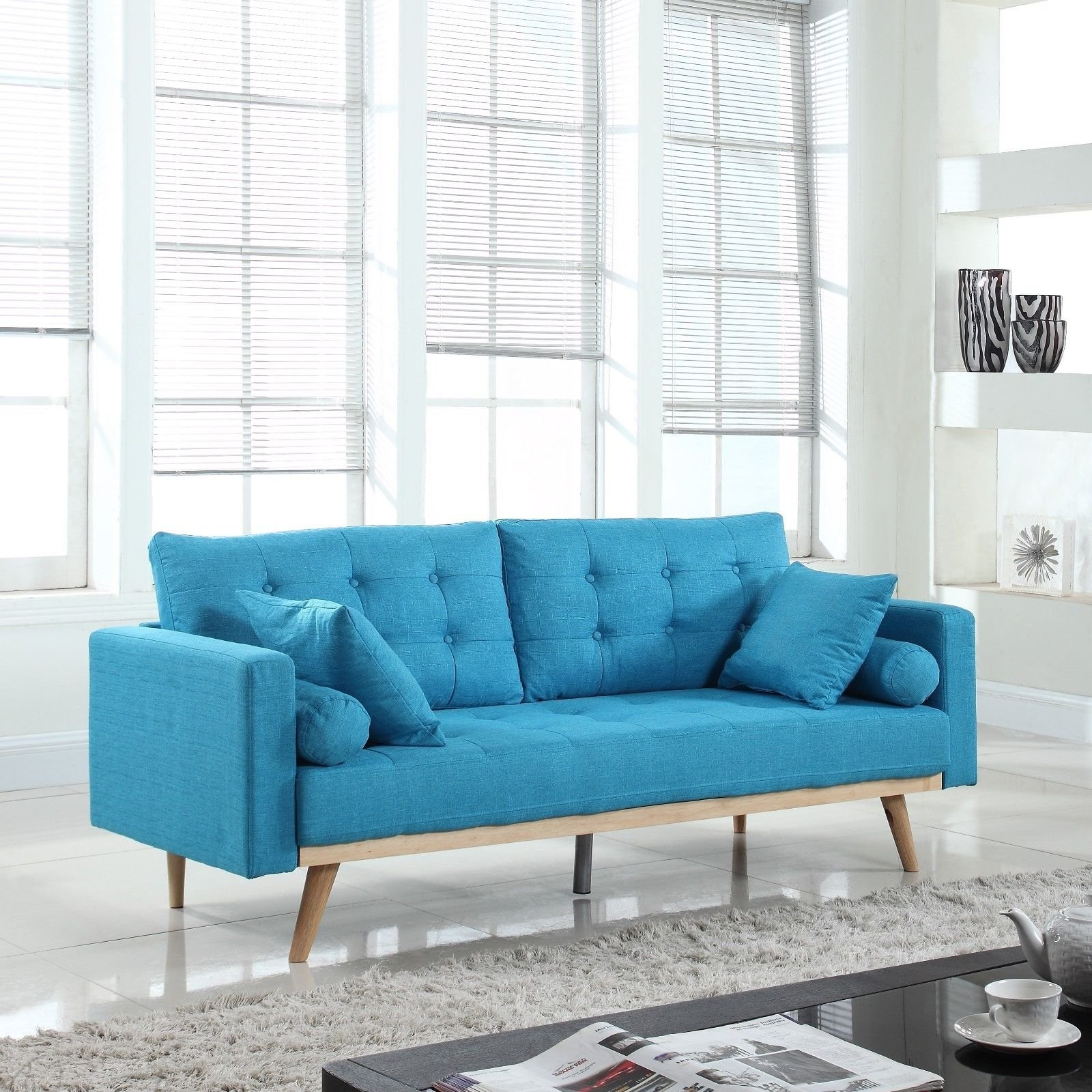 Miraculous Details About Mid Century Modern Tufted Linen Fabric Sofa In Light Blue Pabps2019 Chair Design Images Pabps2019Com