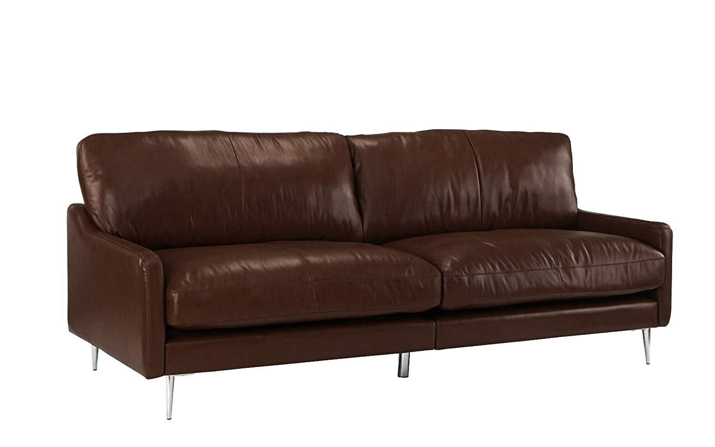 Mid Century Modern Plush Leather Living Room Sofa Dark Brown