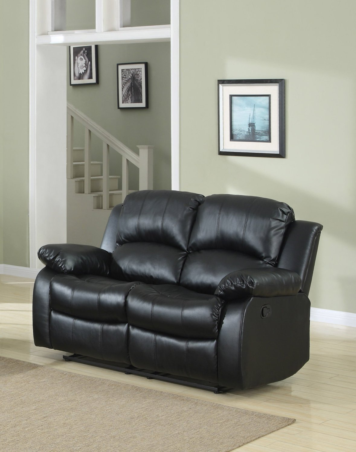Details About Classic Double Reclining Loveseat Bonded Leather Living Room Recliner Sofa