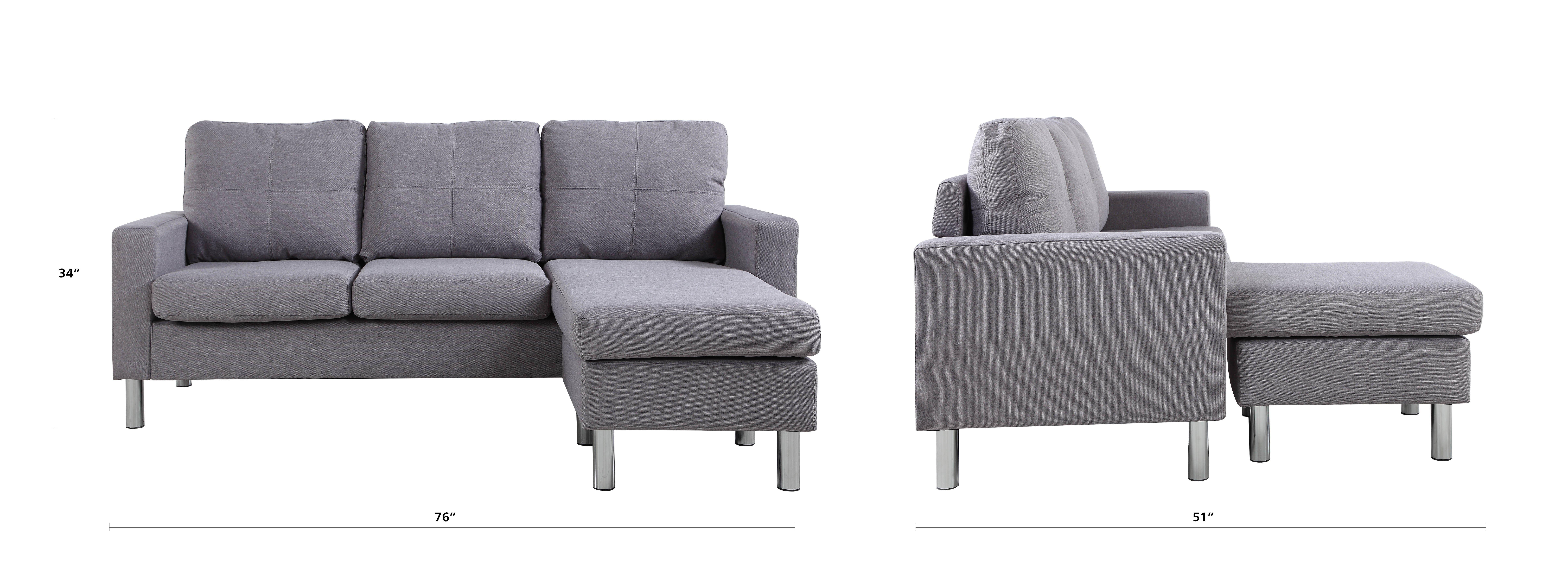 Modern Living Reversible Fabric Sectional Sofa Light Grey