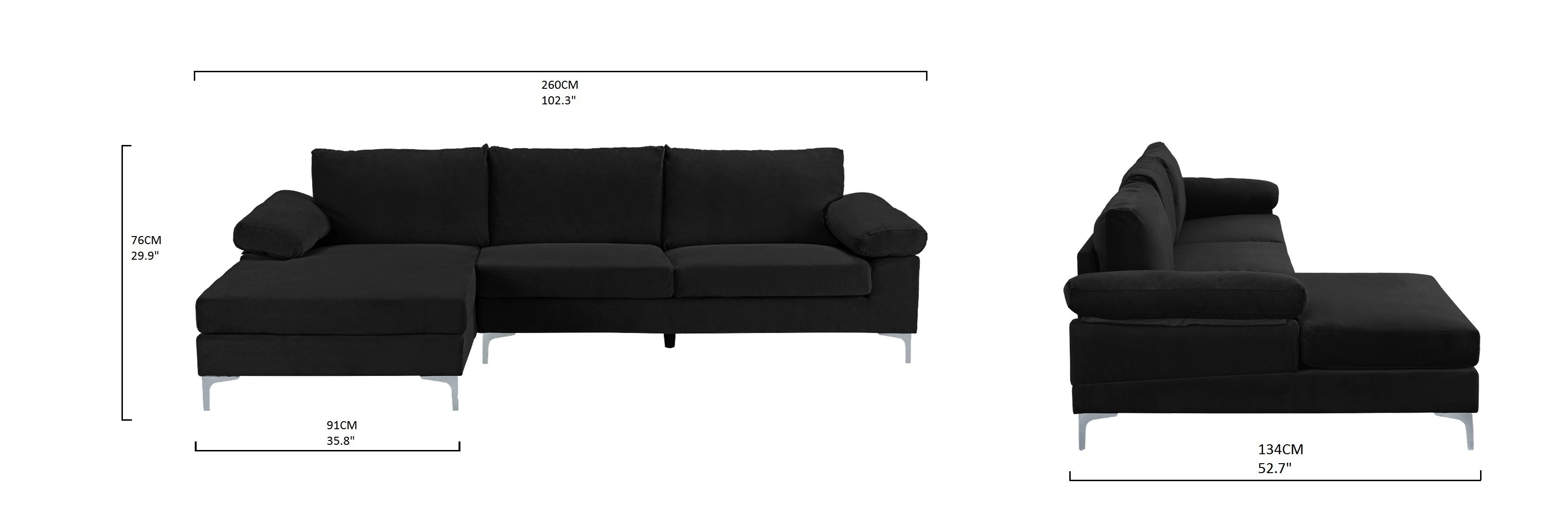 Modern Large Velvet Fabric Sectional Sofa with Extra Wide Chaise ...