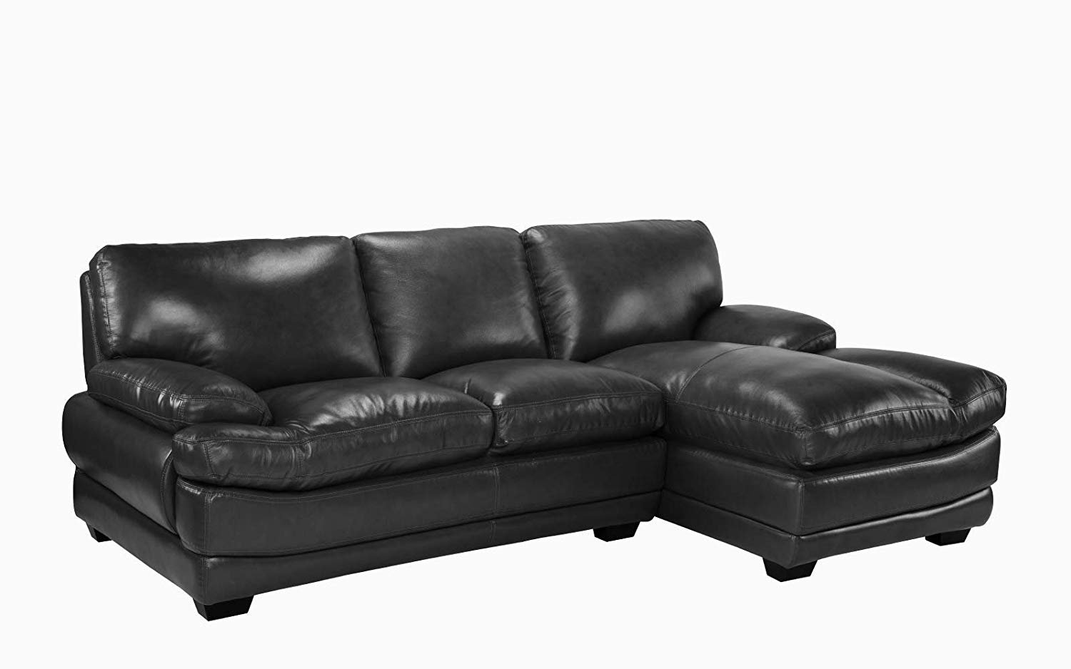 leather match sectional sofa with low frame right chaise black 662187615530 ebay. Black Bedroom Furniture Sets. Home Design Ideas