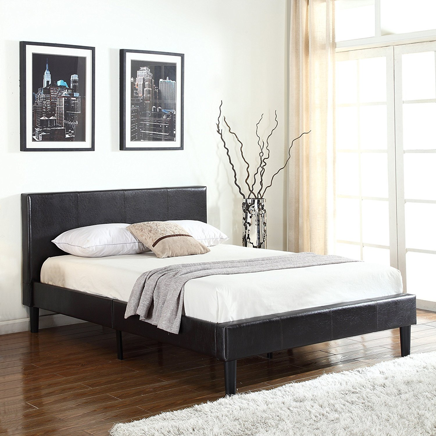 Bonded Leather Low Profile Platform Bed Frame Paneled Headboard