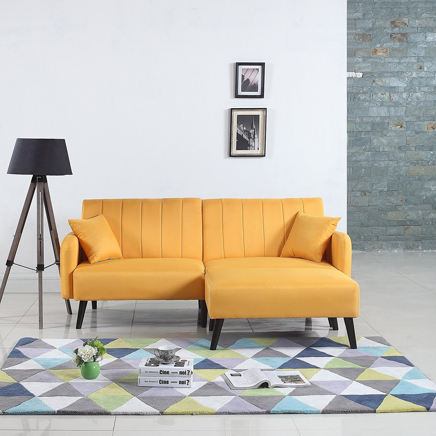 new styles e36ae 1a50d Details about Mid-Century Modern Yellow Fabric Futon Sofa Bed, Living Room  Sleeper Couch