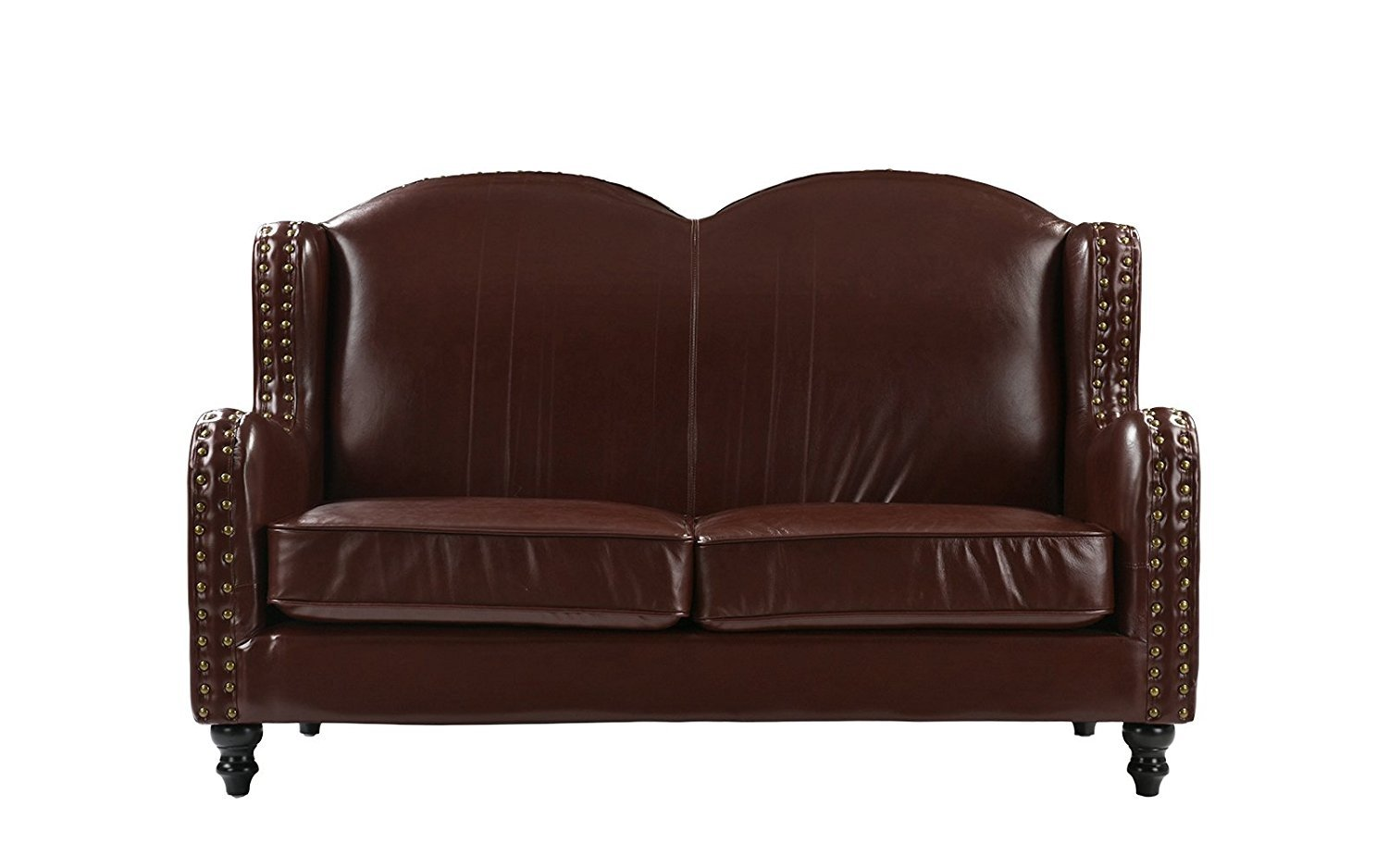 Leather Loveseat 2 Seater Living Room Couch With Nailhead Trim Dark Brown 662187610979 Ebay