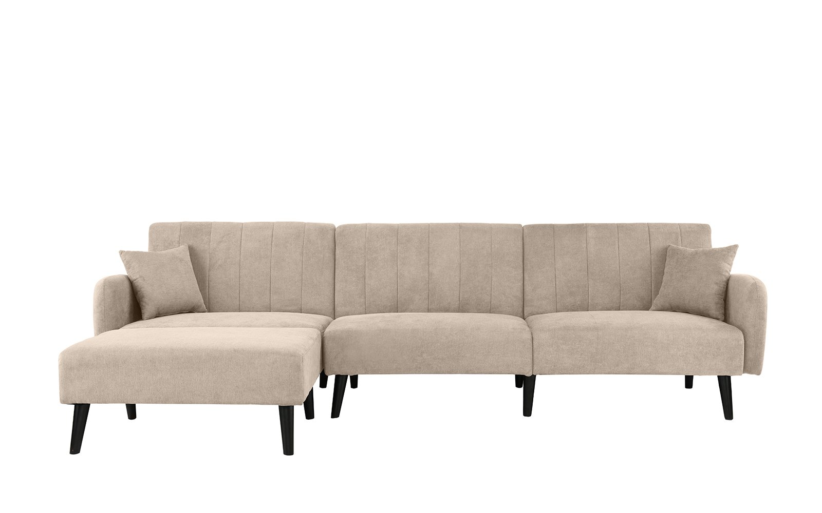 Details About Mid Century Modern L Shape Sectional Sofa Convertible Futon Sleeper In Beige