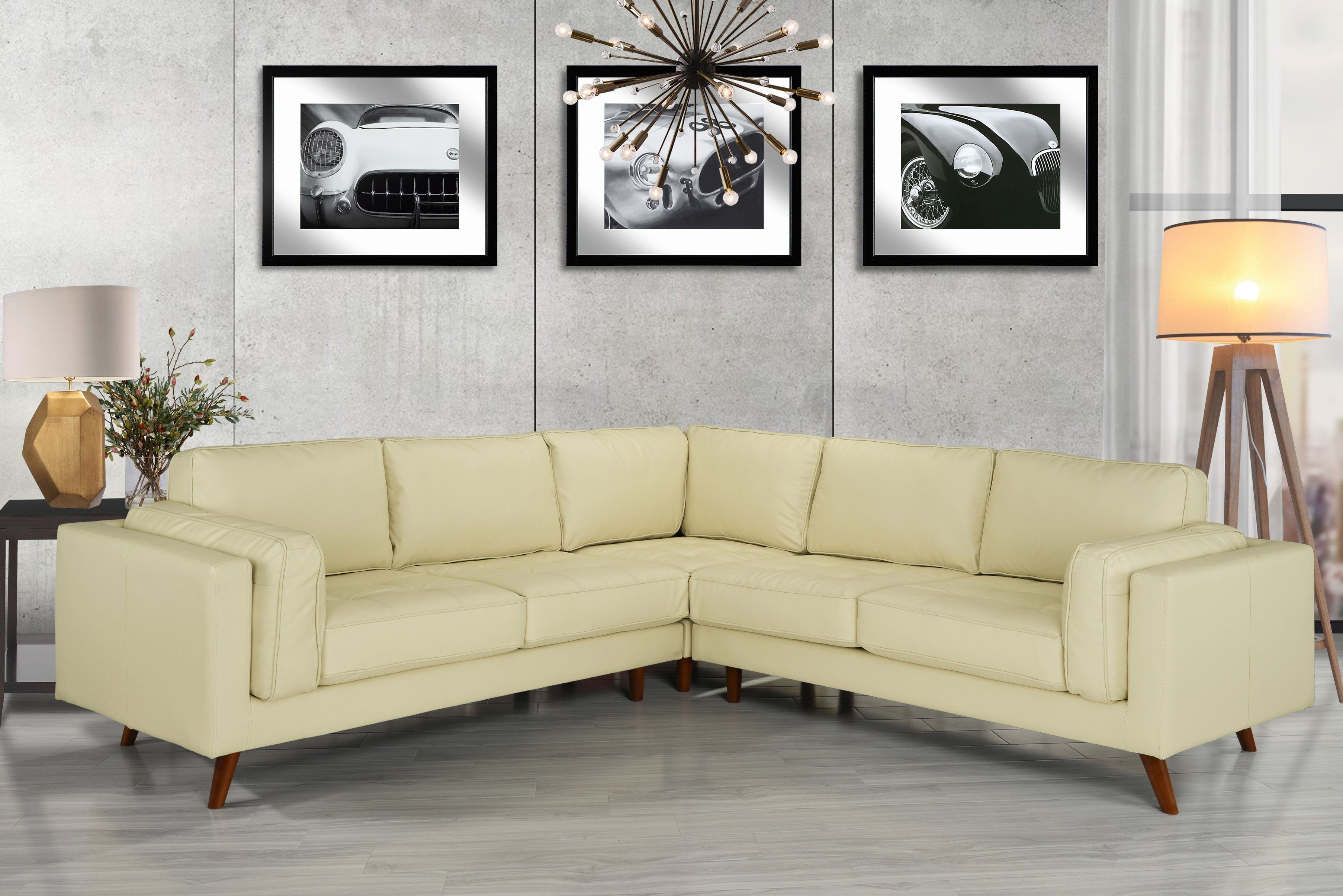 Details About Mid Century Modern Tufted Leather Sectional Sofa W Wooden Legs Beige