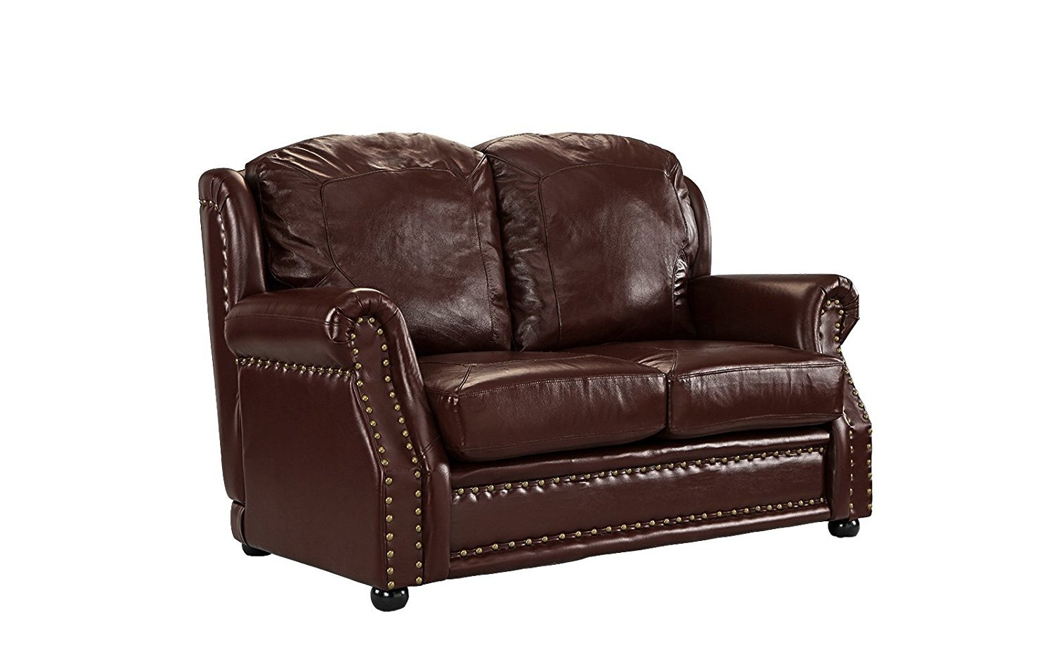Leather Sofa 2 Seater Dark Brown Living Room Couch Loveseat with ...