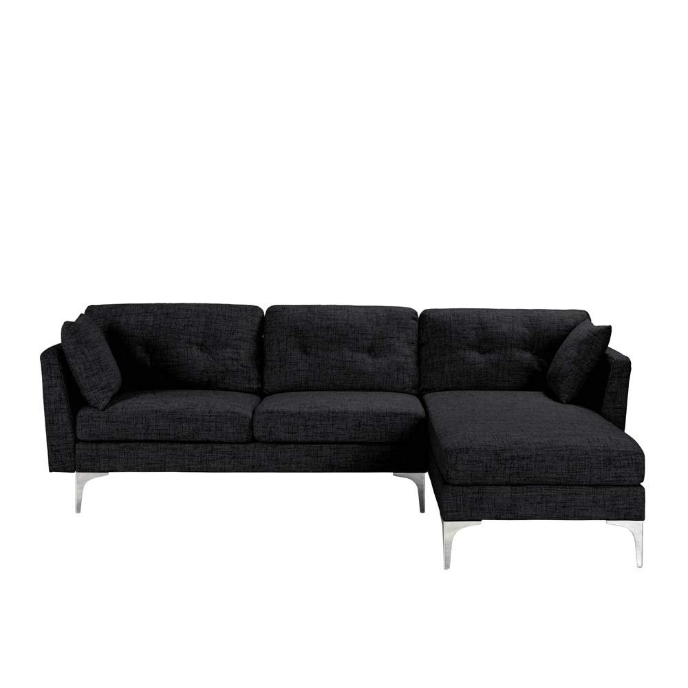 Details about Upholstered L-Shape Couch Sectional Sofa Couch Modern L Shape  Sectional in Black