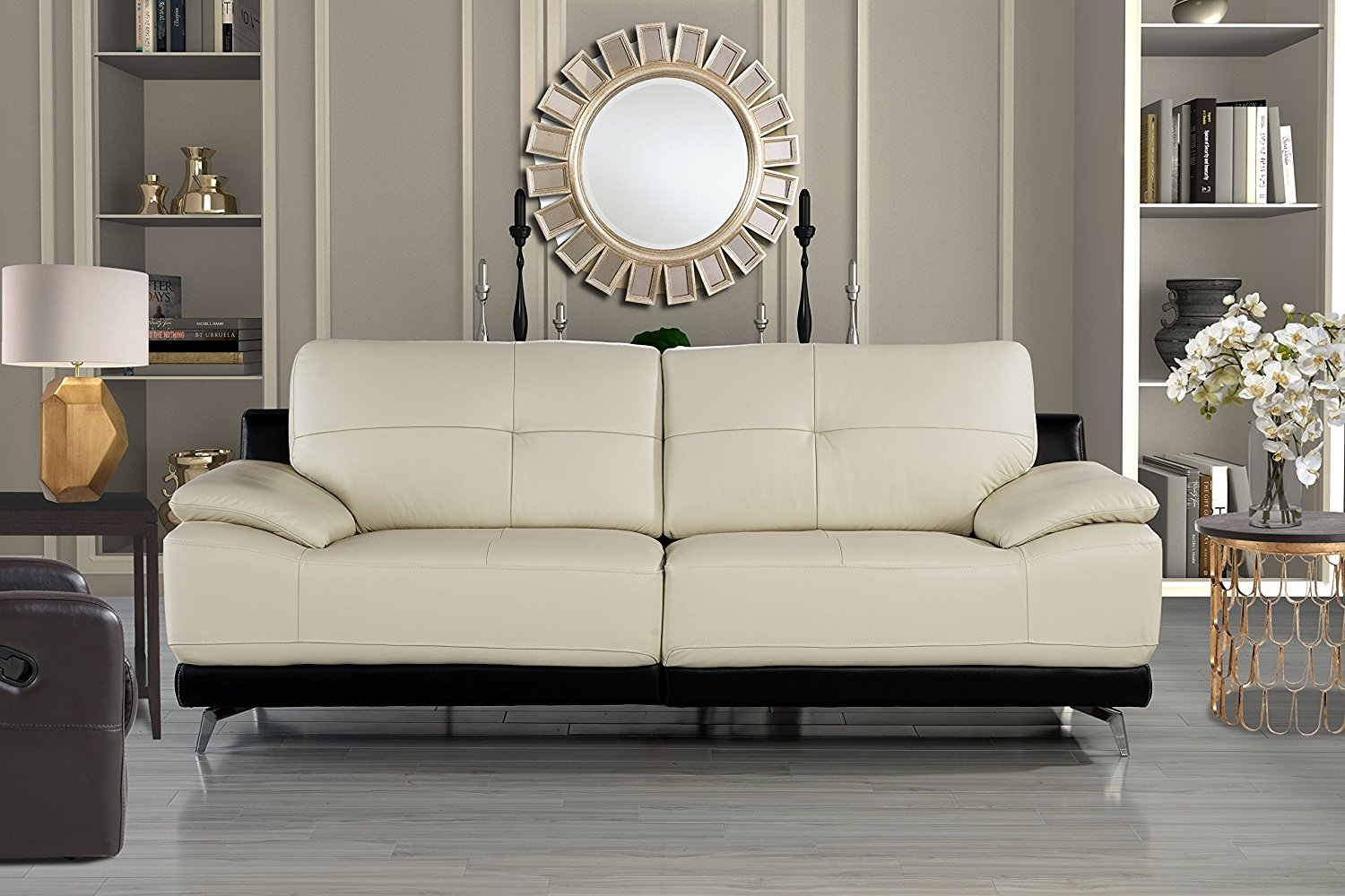 Details about Modern Contemporary Living Room Leather Sofa, Classic Couch  (Beige)