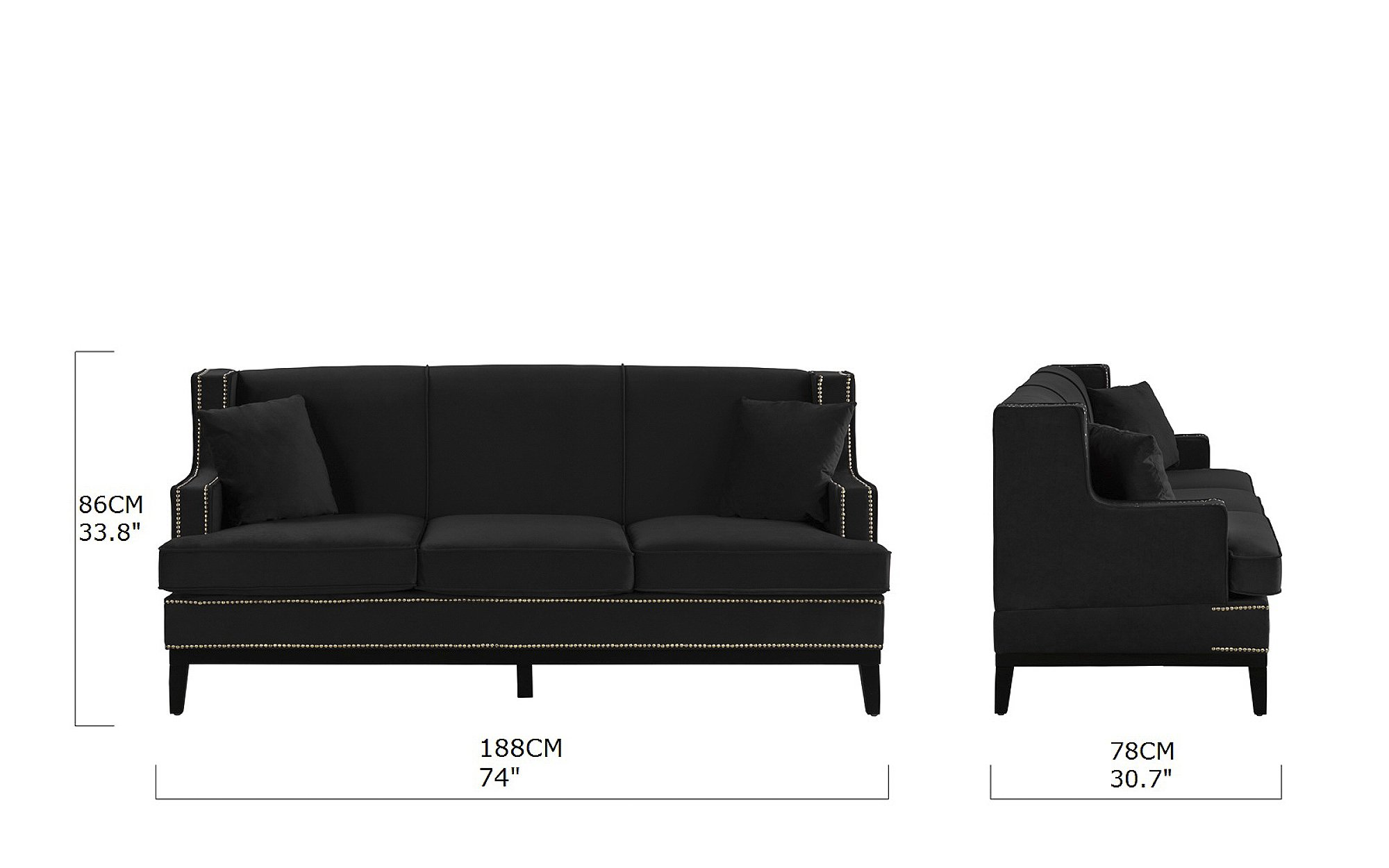 Modern Vintage Style Soft Velvet Sofa Couch With Nailhead