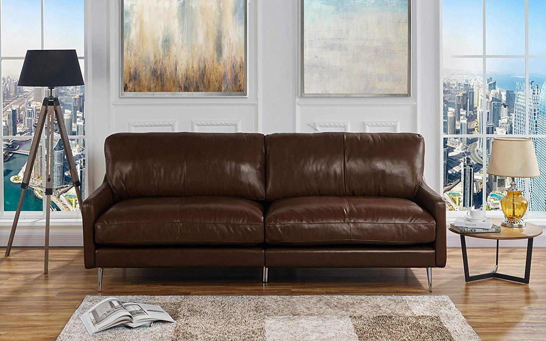 Mid Century Modern Plush Leather Match Living Room Sofa, Dark Brown ...