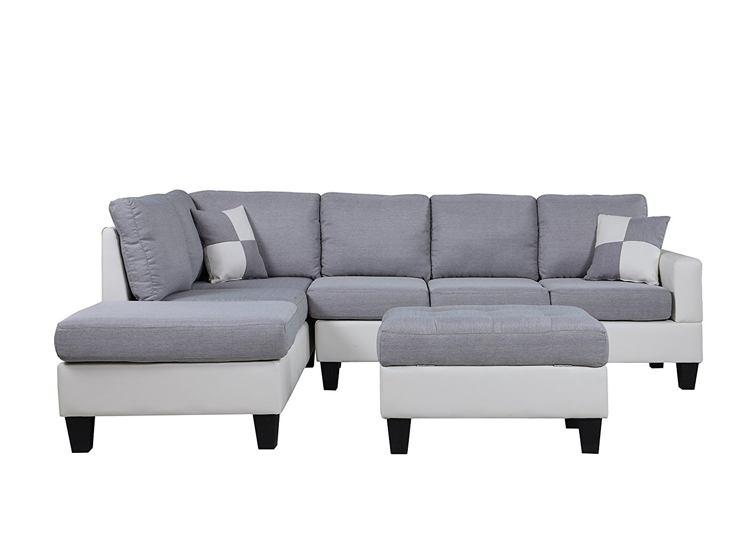 Classic 2 Tone Large Fabric Bonded Leather Living Room Sectional ...