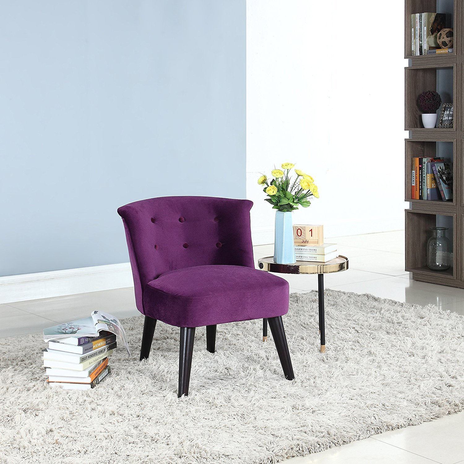 Fabulous Details About Modern Home Living Room Velvet Fabric Accent Chair With Buttons Velvet Purple Gamerscity Chair Design For Home Gamerscityorg
