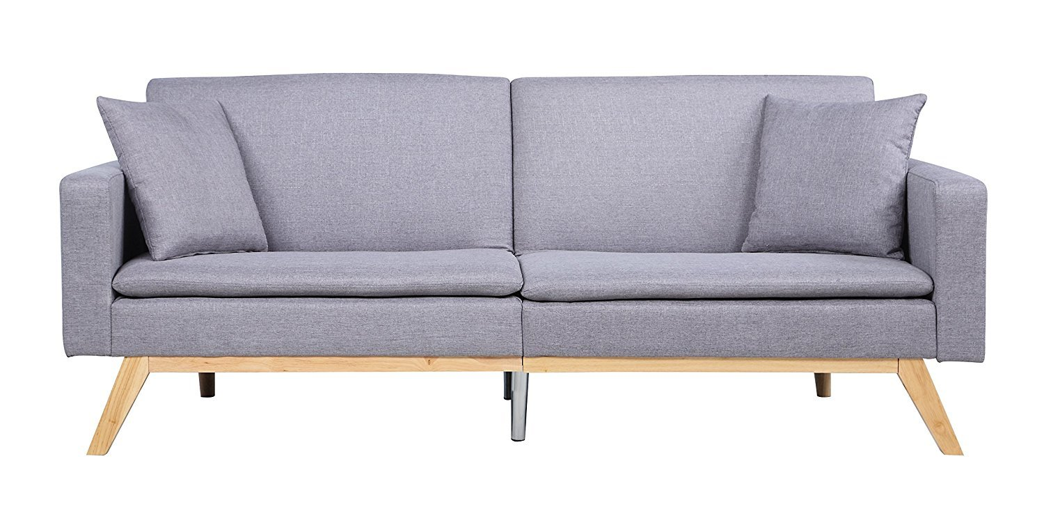 Brilliant Details About Light Grey Contemporary Split Back Futon Sofa With Low Profile Wooden Frame Legs Squirreltailoven Fun Painted Chair Ideas Images Squirreltailovenorg