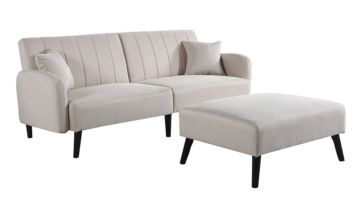 Details About Mid Century Modern Beige Fabric Futon Sofa Bed Living Room Sleeper Couch