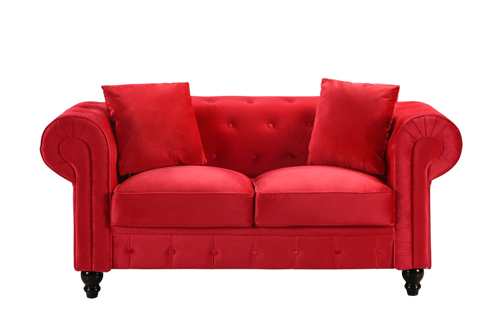 Details about Modern Chesterfield Loveseat Sofa Velvet Upholstered Love  Seat Couch Red