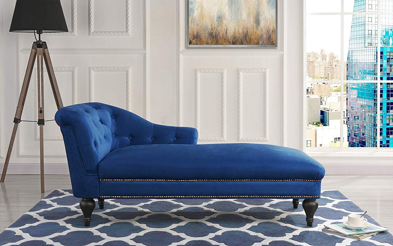 Details about Elegant Velvet Chaise Lounge Living Room Bedroom (Navy)