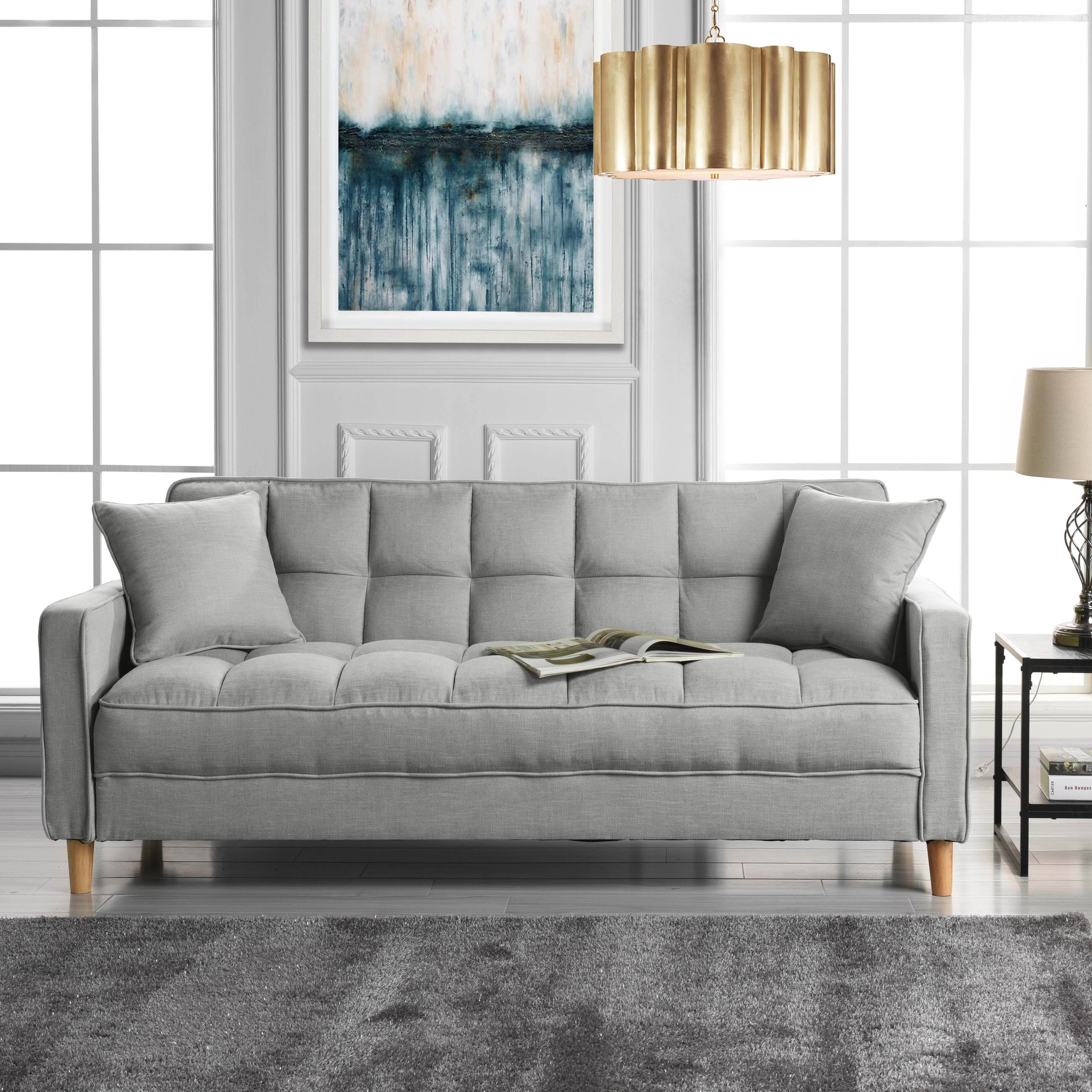 Details about Contemporary Fabric Sofa with Tufted Detail and Natural  Wooden Legs