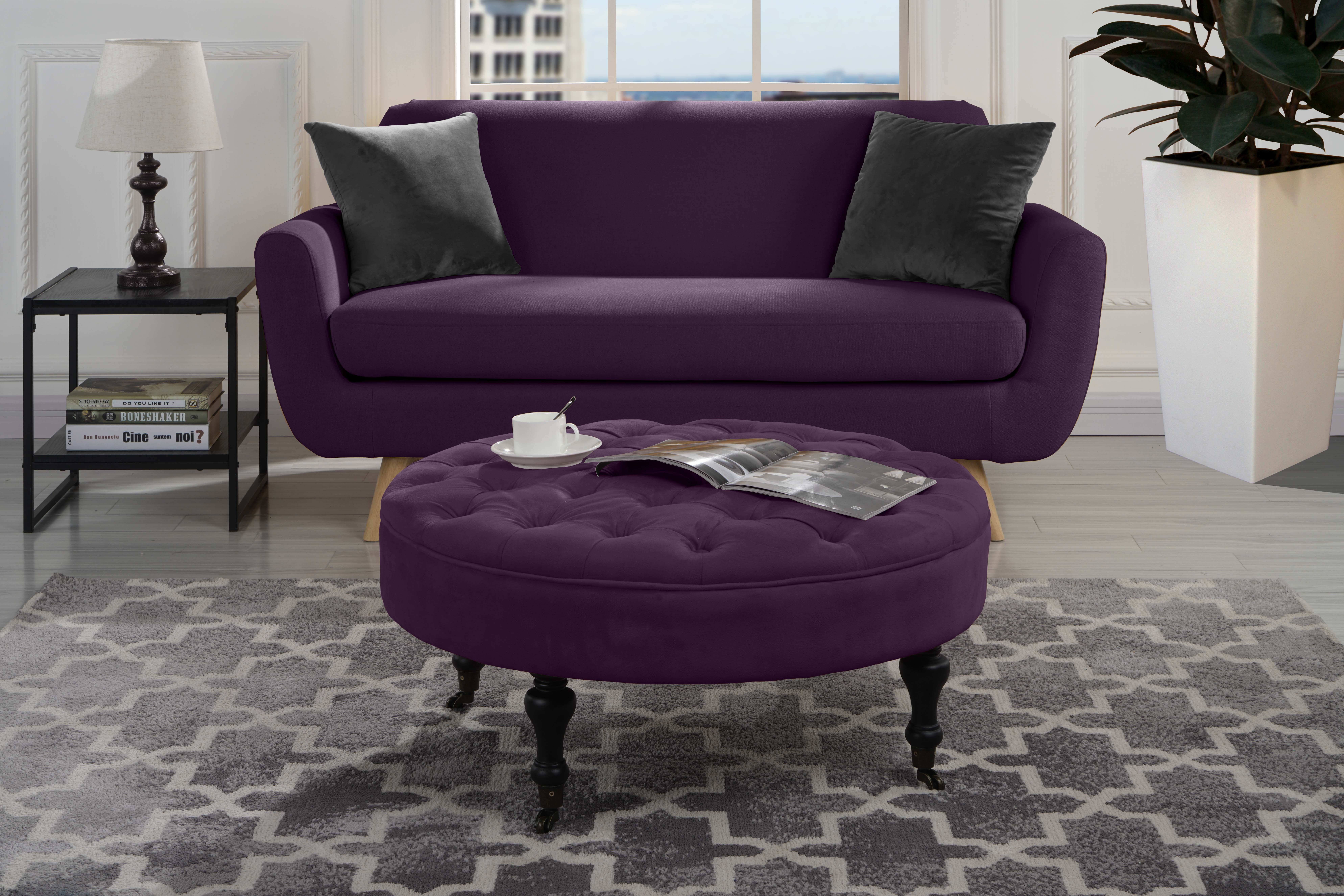 Modern Round Tufted Microfiber Coffee Table W Casters Ottoman W