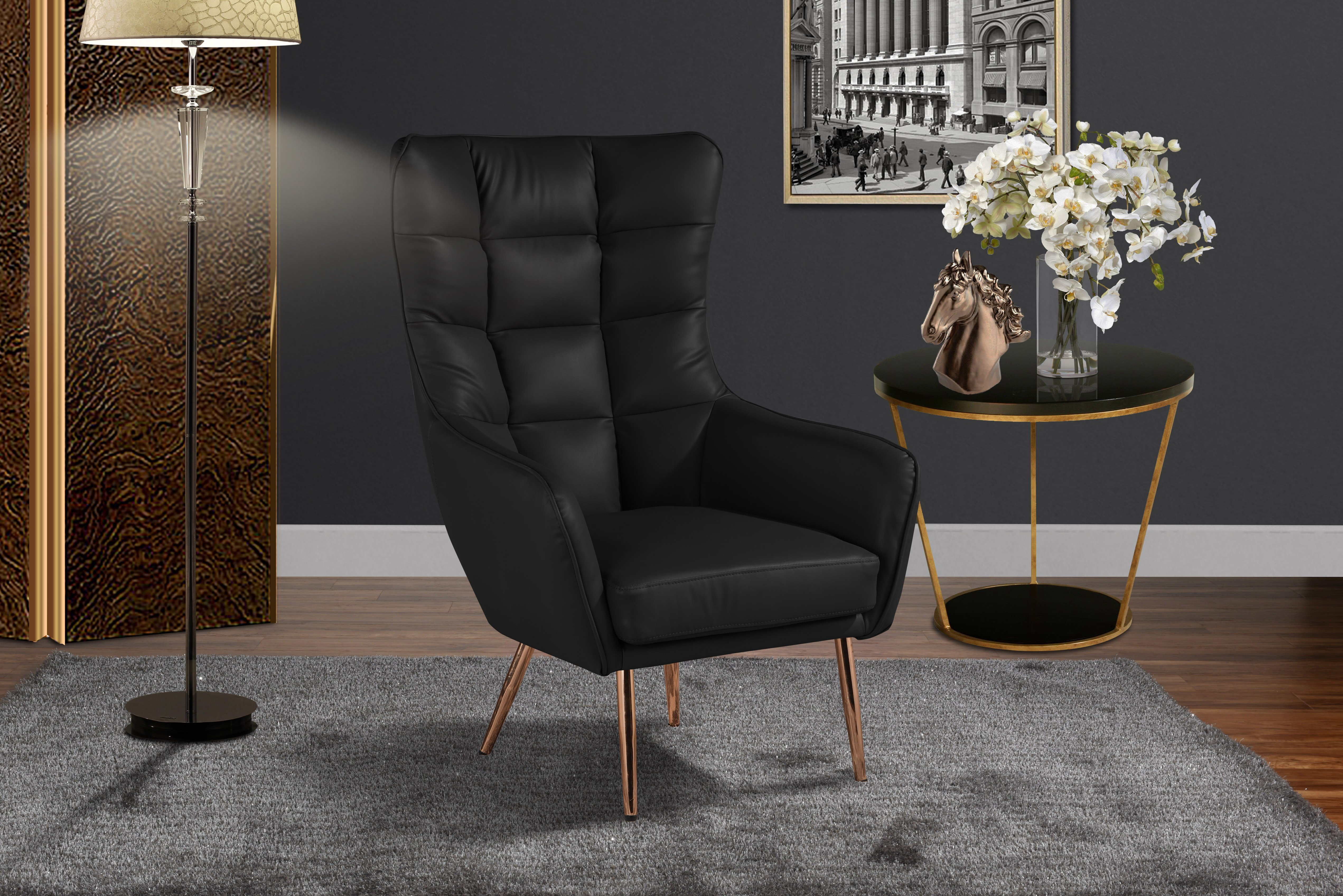 Modern Living Room Bonded Leather Armchair Rose Gold