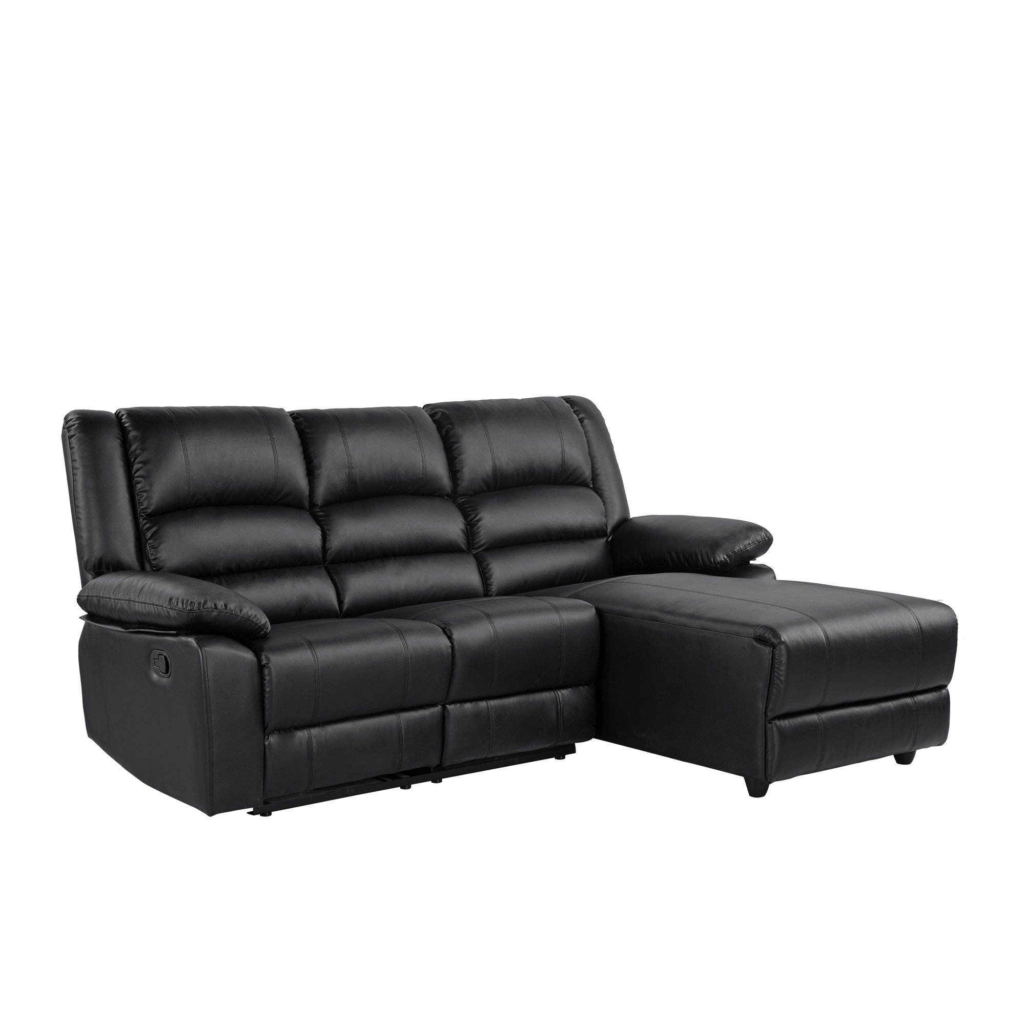 Black Bonded Leather Loveseat Recliner Right Facing Chaise With Plush Seating
