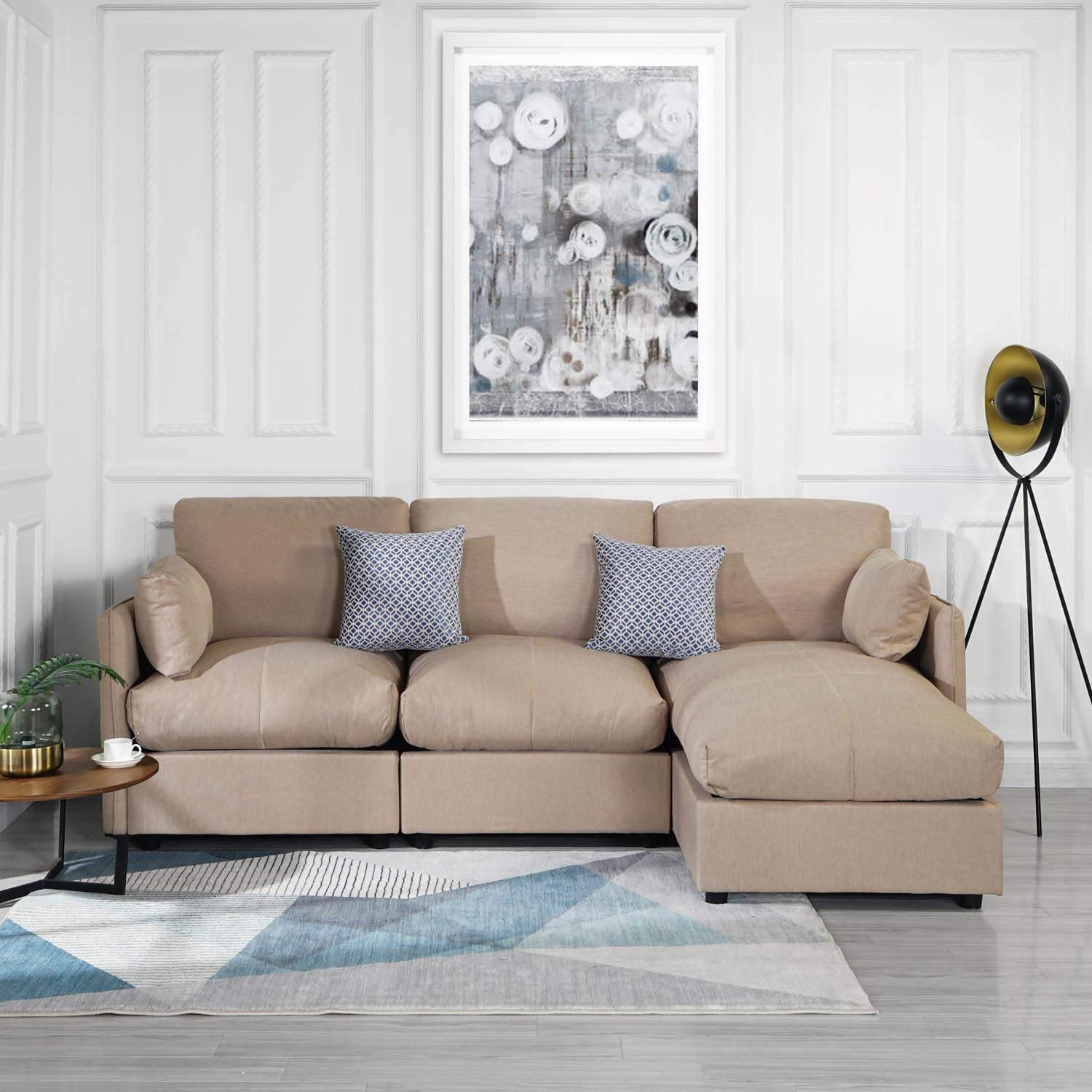 Miraculous Details About Beige 97 Inch Linen Sectional Sofa L Shape Couch Right Facing Chaise Lounge Short Links Chair Design For Home Short Linksinfo
