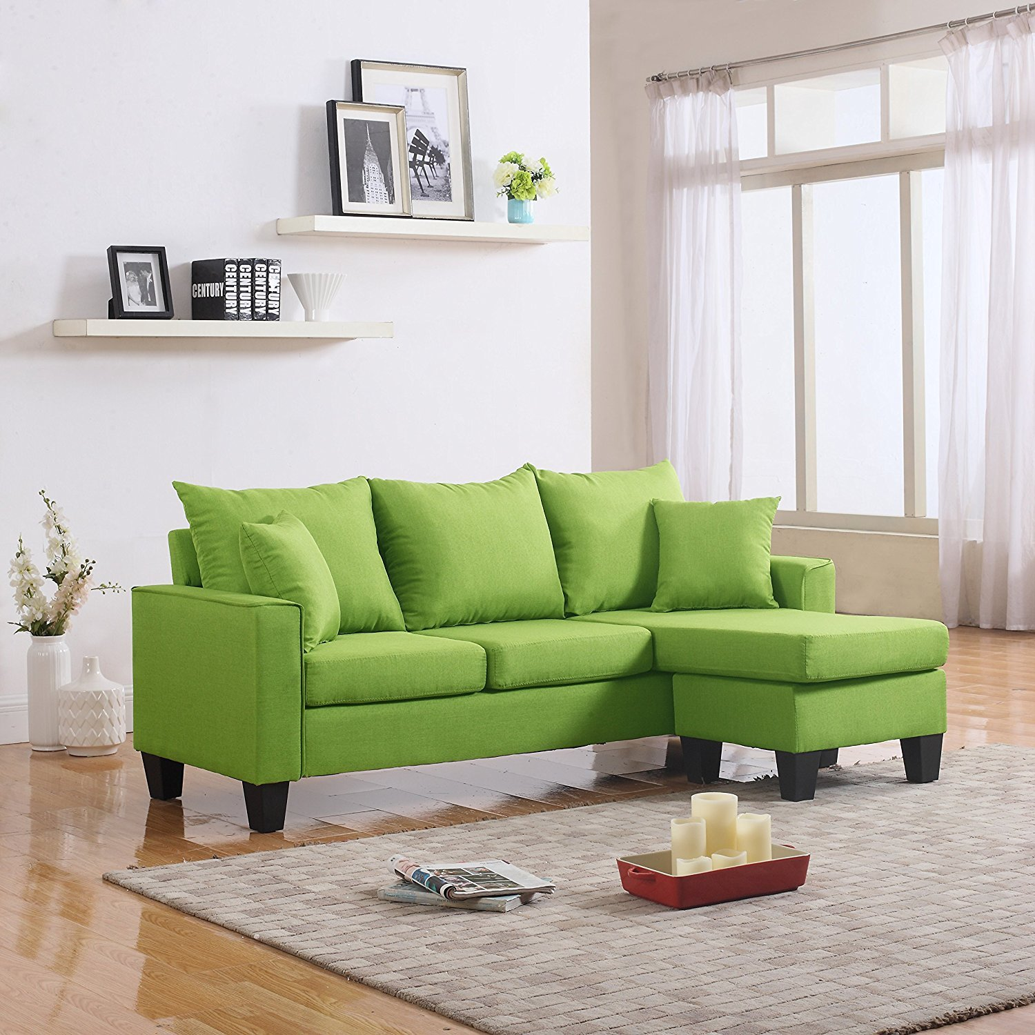 Magnificent Details About Modern Linen Fabric Small Space Sectional Sofa With Reversible Chaise Green Short Links Chair Design For Home Short Linksinfo