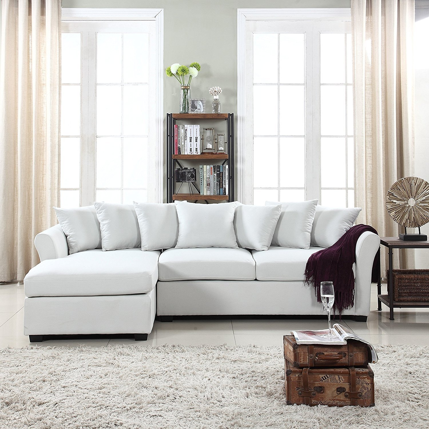 Modern Large Linen Fabric Sectional Sofa L Shape Couch