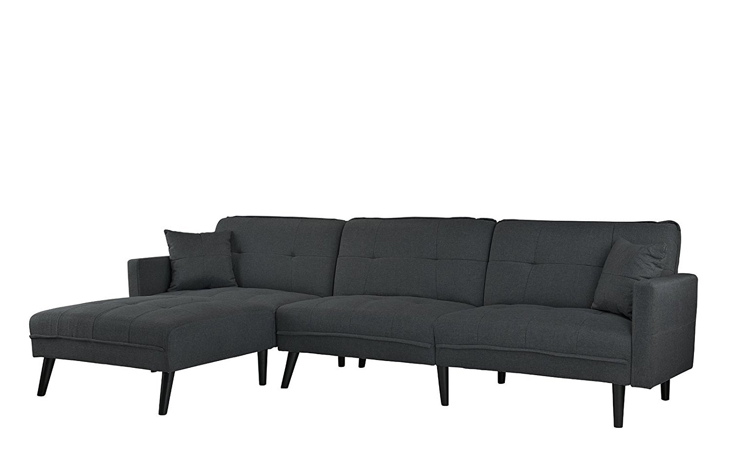 Details about Dark Grey Mid Century Modern Sofa Sleeper Futon Sofa, L Shape  Sectional Couch