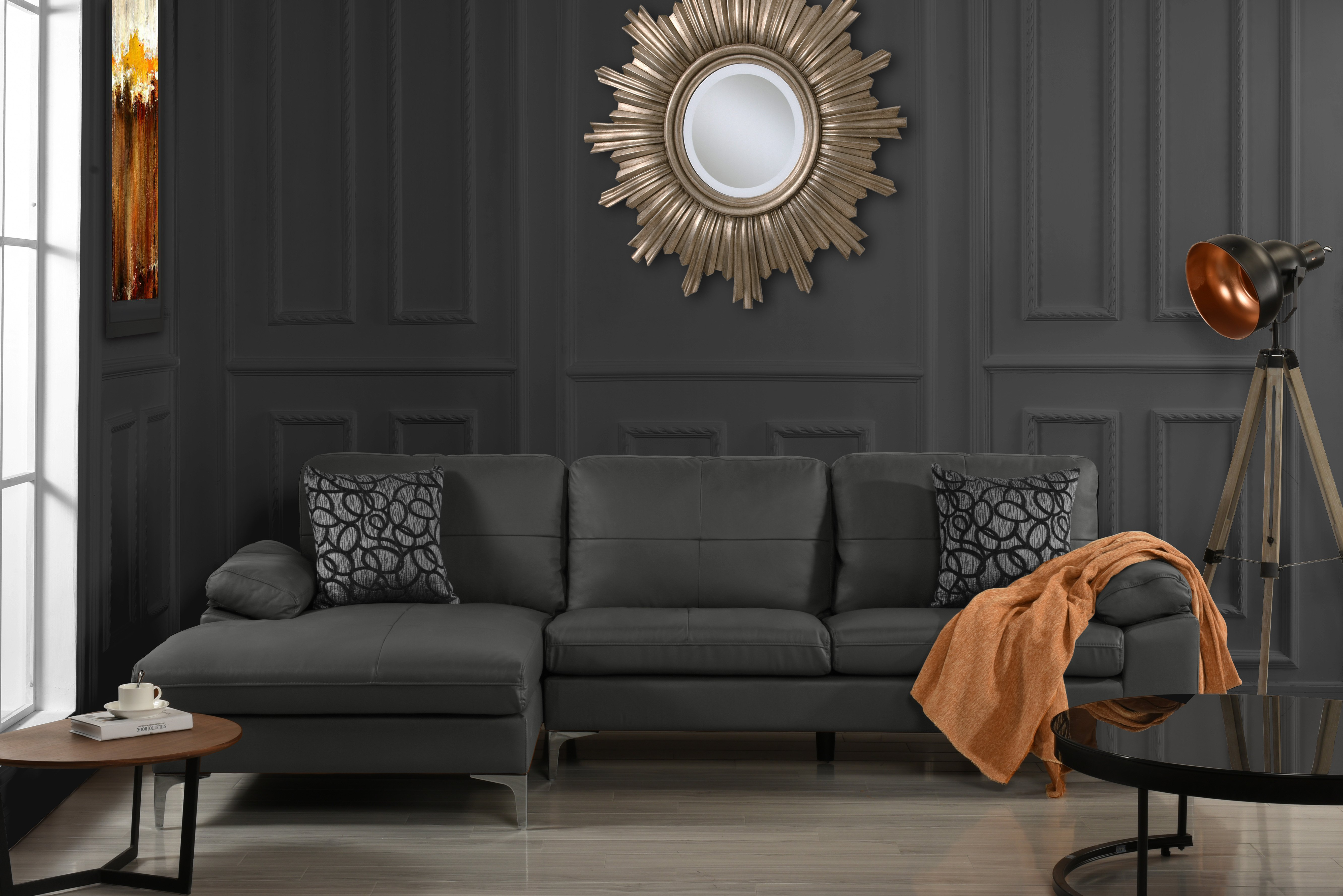 Details about Leather Sectional Sofa, L-Shape Couch with Left Facing Chaise  Lounge (Grey)