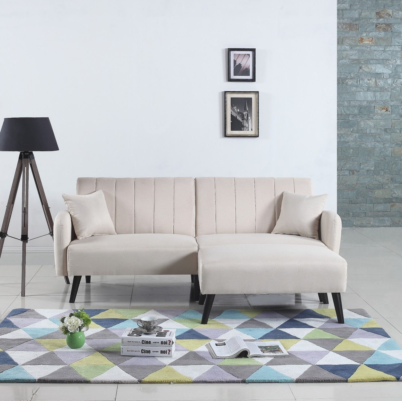 Details About Contemporary Small Space Fabric Futon Sofa Bed Living Room Sleeper Couch Beige