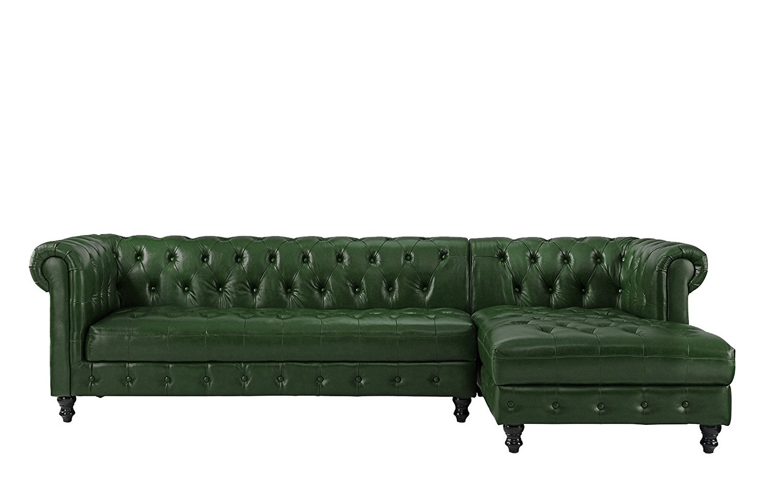 Details about Classic Leather Chesterfield L Shape Tufted Sectional Sofa,  Right Chaise, Green