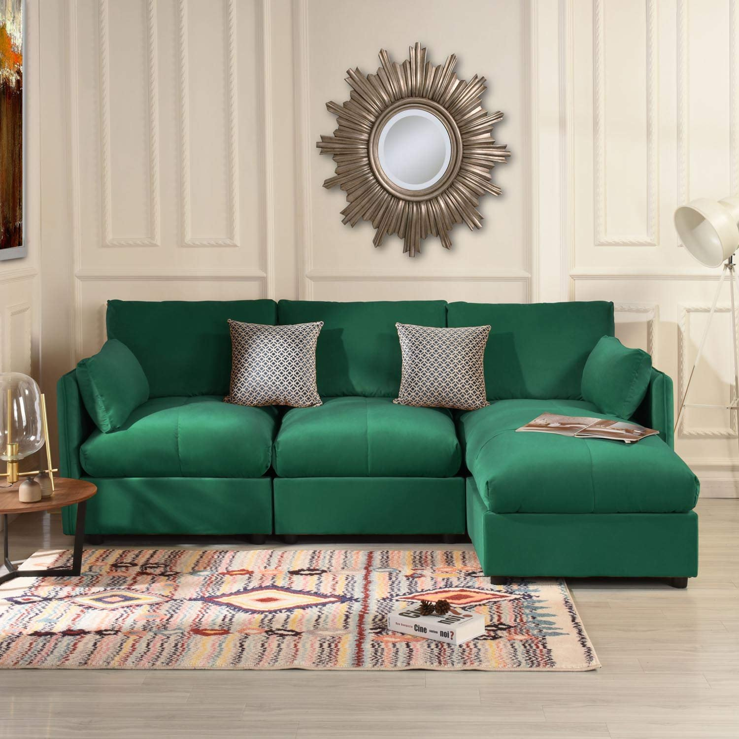 Details about Modern Living Room Velvet L Shape Couch Sectional Sofa Right  Facing Chaise Green