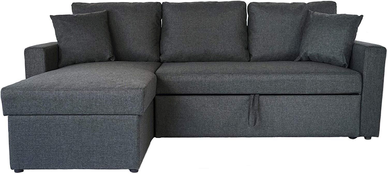 Gris Oscuro Pequena Forma Seccional L Sofa Cama Otomano De Almacenamiento Chaise Extraible Ebay