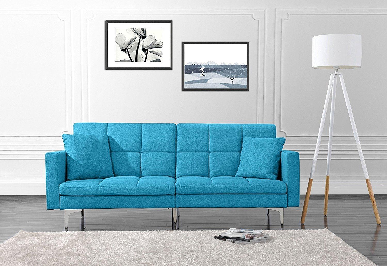 Modern Plush Tufted Linen Split Back Living Room Futon