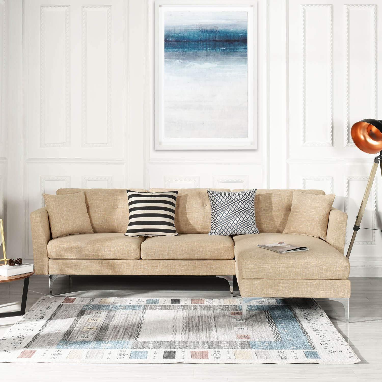 Beige Upholstered Linen Sectional Sofa
